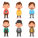 Men avatars in different outfits. A vector illustration of men avatars in different outfits Royalty Free Stock Photos