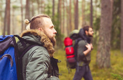 Men with backpacks and beards hiking in the forest. Camp, adventure, traveling and friendship concept. Man with a backpack and beard and his friend hiking in royalty free stock photos