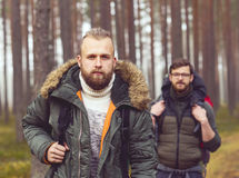 Men with backpacks and beards hiking in the forest. Camp, adventure, traveling and friendship concept. Man with a backpack and beard and his friend hiking in stock photos
