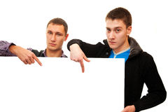 Men and banner Stock Photo