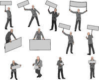 Men With Banner. 12 men figures with banner or an other free space for any text Stock Photos