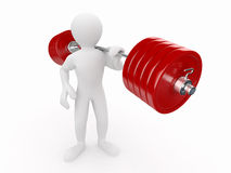 Men with barbell. On white isolated background. 3d Royalty Free Stock Image