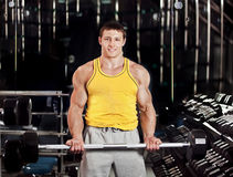 Men with barbell Stock Photos
