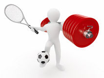 Men with barbell, racket and ball. 3d Royalty Free Stock Photography