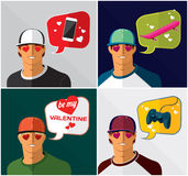 Men in baseball cap with thought bubbles Stock Image