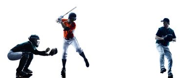 Men baseball players silhouette isolated Royalty Free Stock Photos