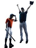Men baseball players silhouette isolated Stock Photography