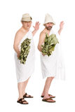 Men bathing costumes in playful poses Royalty Free Stock Images