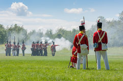 Men in Battle during War Reenactment Royalty Free Stock Photos