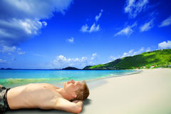 Men on the beach Royalty Free Stock Photos
