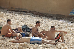 Men on the beach, Lebanon Royalty Free Stock Images