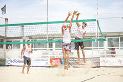 Men beach volleyball players. Italian national championship Stock Photo