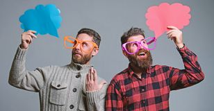 Men with beard and mustache mature hipster wear funny eyeglasses. Explain humor concept. Funny story and humor. Comic. Idea. Men joking. Share opinion speech royalty free stock photography