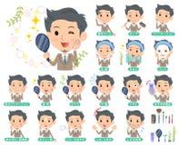 men_beauty米黄衣服短发的胡子 免版税库存图片