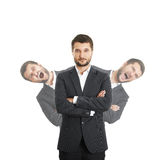 Men behind sure businessman. Two screaming man behind sure businessman in suit. isolated on white background Stock Image