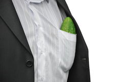 Men with big fresh cucumber. In his shirt pocket Stock Photo