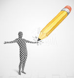 Men with a big hand drawn pencil concept Royalty Free Stock Image