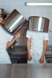 Men with big pots Stock Photo