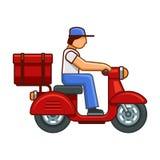 Men on Bike Deliver Package Icon. Vector royalty free illustration