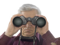 Men with binoculars Stock Photo