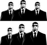 Men in black. Three men in black suits. The secret service or mafia Royalty Free Stock Images