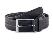 Men black belt isolated on white Royalty Free Stock Photo