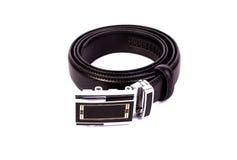Men black belt isolated on white. Stock Image