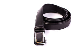 Men black belt isolated on white. Royalty Free Stock Image