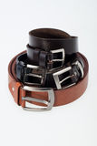 Men black and brown  belt Royalty Free Stock Images