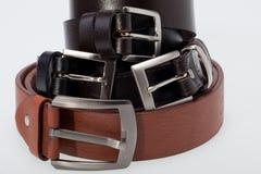 Men black and brown  belt Royalty Free Stock Photos