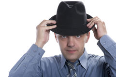 Men on black hat Royalty Free Stock Images