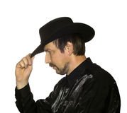 Men in black hat Stock Image