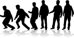 Men black  silhouettes, Royalty Free Stock Photography
