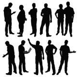 Men. Black silhouettes of men in different poses. Vector illustration Stock Photo