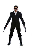 Men in black suit holding gun Royalty Free Stock Image