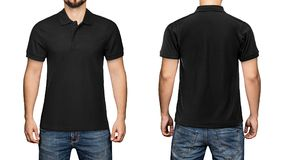 Men in blank black polo shirt, front and back view, white background. Design polo shirt, template and mockup for print. Men in blank black polo shirt, front and Stock Image