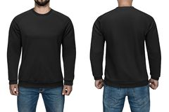 Men in blank black pullover, front and back view, white background. Design sweatshirt, template and mockup for print. Men in blank black pullover, front and royalty free stock photography