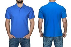 Men in blank blue polo shirt, front and back view, isolated white background. Design polo shirt, template and mockup for print. Men in blank blue polo shirt royalty free stock photos