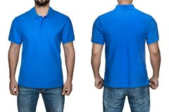 Men in blank blue polo shirt, front and back view, white background. Design polo shirt, template and mockup for print. stock photos