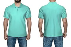 Men in blank turquoise polo shirt, front and back view, white background. Design polo shirt, template and mockup for print. Royalty Free Stock Photography