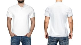 Men in blank white polo shirt, front and back view, white background. Design polo shirt, template and mockup for print. stock photo