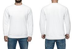 Men in blank white pullover, front and back view, white background. Design sweatshirt, template and mockup for print. Men in blank white pullover, front and royalty free stock photography