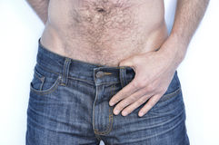 Men in blue jeans Stock Photography