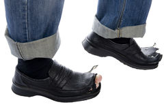 Men in blue jeans and shoes close up Stock Photos