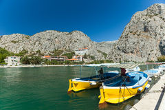 Men in boat on river Cetina, Omis, Croatia Royalty Free Stock Photos