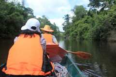 Men boating. People river boat, a canoe trip freshwater jellyfish and butterfly species. Bangrachan in the rapids. Khao Kho. Phetchabun Thailand Royalty Free Stock Photography