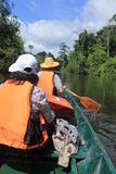 Men boating. People river boat, a canoe trip freshwater jellyfish and butterfly species. Bangrachan in the rapids. Khao Kho. Phetchabun Thailand stock photography