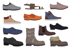 Men boots  set. Male man season shoes icons collection. Stock Images