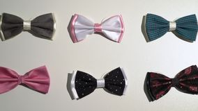 Men bow ties in a store. Men bow ties in a fashion clothes store stock footage