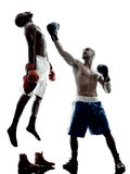 Men boxers boxing isolated silhouette Royalty Free Stock Image
